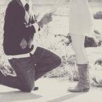three stone engagement ring proposal
